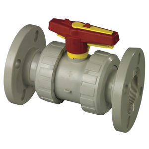 Flanged Plastic Double Union Polypropylene Ball Valves Lever Operated